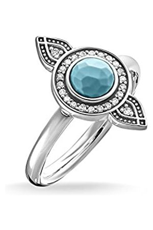 Thomas Sabo Women-Ring Glam & Soul 925 Sterling blackened Zirconia white simulated turquoise Size O (17.2) TR2090-646-17-54