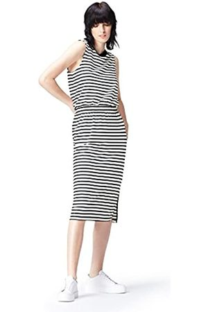 find. Women's Dress, Multicoloured (Navy/Ivory)