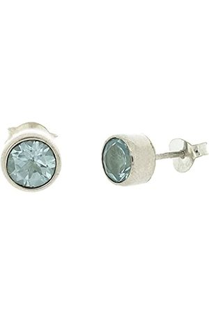 Nova Silver Medium Sized Faceted Topaz Round Stud Earrings