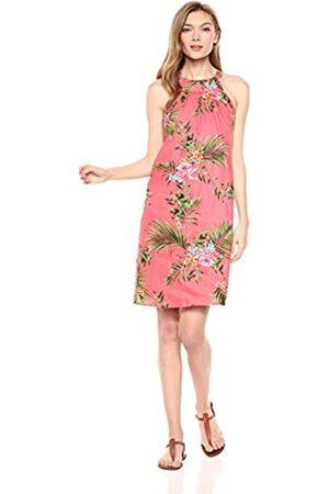 28 Palms Amazon Brand - womens 100% Linen Halter Hawaiian Print Shift Dress Solid 100% Linen Halter Hawaiian Print Shift Dress Sleeveless Casual Dress