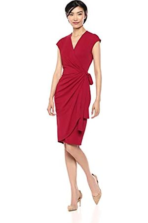 Lark & Ro Amazon Brand - Cap Sleeve Wrap Dress With Front Drape Detail Scarlet