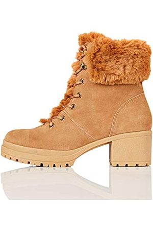 FIND Mid Height Faux Fur Lace Up Ankle Boots, Tan)