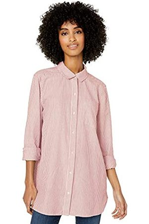 Goodthreads Washed Oxford Long-sleeve Button-front Shirt /Coral Stripe