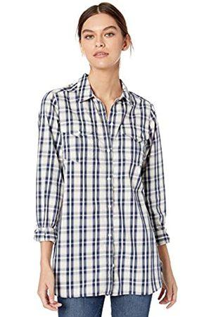 Goodthreads Lightweight Twill Long-sleeve Utility Shirt Button, /Navy Plaid