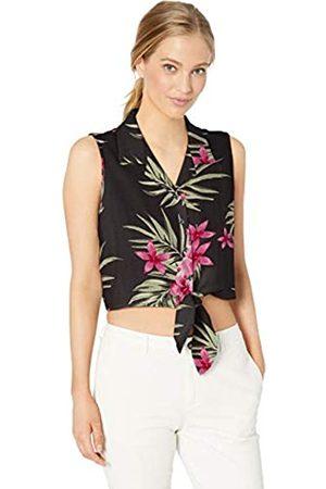28 Palms Silk/Rayon Tropical Hawaiian Crop Top Button Down Shirt