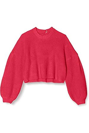 FIND Women's Jumper with Tie Back and Balloon Sleeves and Crew Neck