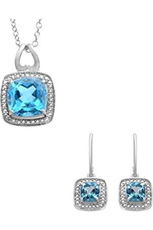 Jewelili Sterling Silver Gemstone Earrings and Pendant Set