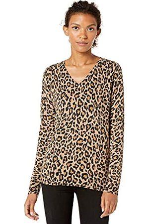 Amazon Lightweight V-neck Sweater Camel Heather Animal Print