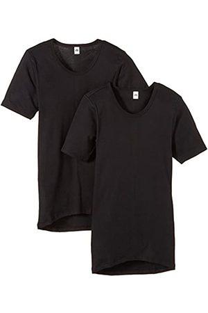 Trigema Men's Herren Unterhemd Feinripp Doppelpack Vest, -Schwarz (Schwarz 008)