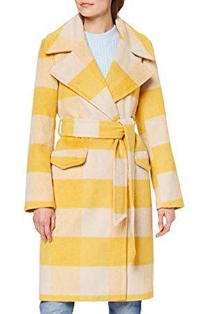 MISS SELFRIDGE Women's Ochre CHCK WRAP Coat Wool Blend