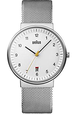 Braun Men's Quartz Watch with Dial Analogue Display and Silver Mesh Bracelet BN0032BKBKMHG