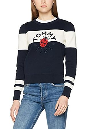 Tommy Hilfiger Women's Pazia Graphic SWTR Jumper, (Peacoat/Snow 902)
