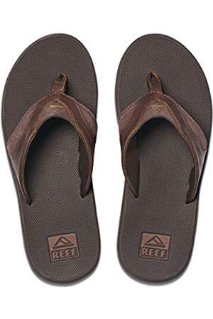 Reef Men's Leather Fanning Flip Flops, (Dark DAB)