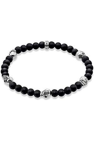 Thomas Sabo Women Men-Bracelet Rebel at heart 925 Sterling silver blackened Obsidian Length 15.5 cm A1097-023-11-S