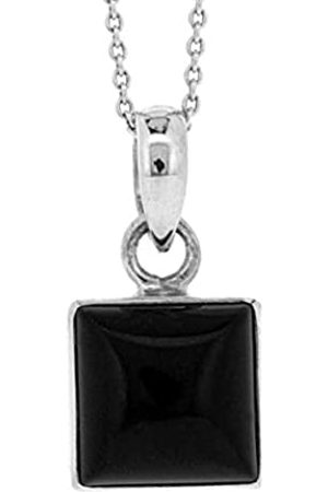 Nova Silver Small Square Pendant with Square Black Onyx stone on 18 inch (46cm) Chain in presentation box