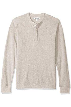 Goodthreads Men's Long-sleeve Slub Thermal Henley Shirt, (heather oatmeal)