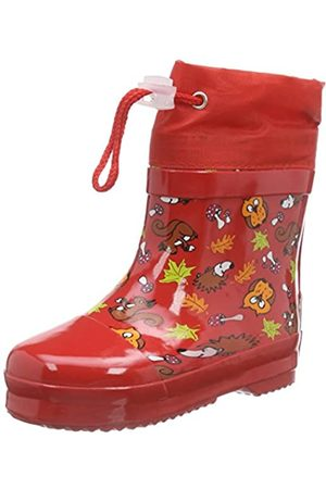 Playshoes Unisex Kid's Lined Wellies Rain Boot Animals Wellington Rubber, (Rot 8)