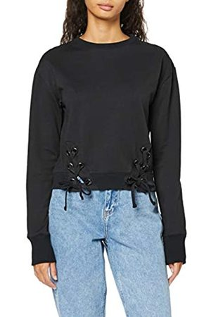 find. Women's Sweatshirt with Lace Up Ribbed Hem with Long Sleeves, Crew Neck and Regular Fit