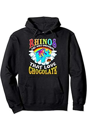Tee Styley Rhinos Are Just Unicorns That Love Chocolate Funny Women Pullover Hoodie