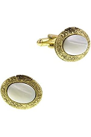 1928 Jewelry Gold-Tone Mother of Pearl Small Oval Cuff Links