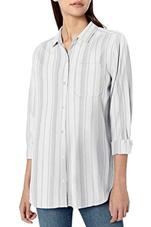 Goodthreads Solid Brushed Twill Long-sleeve Boyfriend Shirt Button