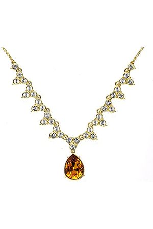 Cristalina 18K Plated Golden Topaz Pear Drop Crystal Gala Necklace of Length 46cm