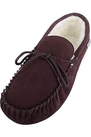 Snugrugs Men's Alfie Wool Lined Suede Moccasin Slipper, Dark