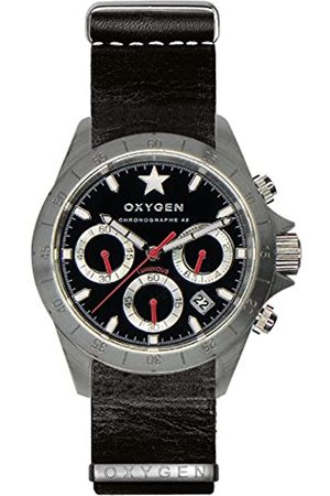 Oxygen Chrono Sprint 42 Mens Quartz Watch with Dial Chronograph Display and Leather Strap EX-C-SPR-42-NL-BL