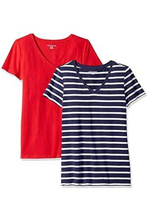 Amazon Essentials WAE45055SP18 Women's 2-Pack Short-Sleeve V-Neck Solid T-Shirt )