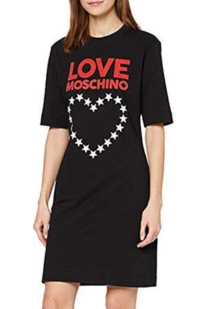 Love Moschino Women's Short Sleeve Stretch Fleece Logo & Stars Heart Print Dress