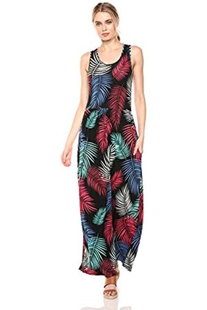 28 Palms Tropical Hawaiian Print Sleeveless Maxi Dress Casual, Rainbow Fronds