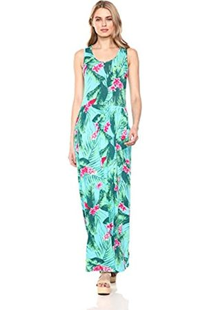 28 Palms Tropical Hawaiian Print Sleeveless Maxi Dress Casual, Aqua/ Ginger