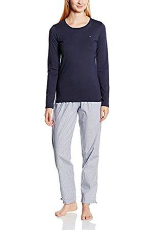 Tommy Hilfiger Women's Kimbie Polkadot Woven Set ls Pyjama, Multicoloured-Mehrfarbig (Parisian Night-PT/Vintage Indigo-PT 070)