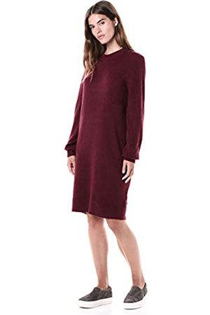 Daily Ritual Mid-gauge Stretch Crewneck Sweater Dress Burgundy