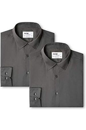 FIND Herren Regular Fit Businesshemd 2 Pack Regular Fit Solid