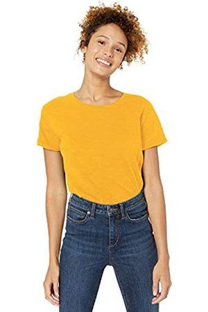 Goodthreads Vintage Cotton Roll-sleeve Open Crew T-shirt Mustard