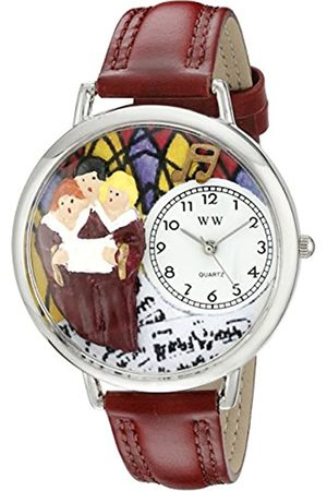 Whimsical Choir Burgundy Leather and Silvertone Unisex Quartz Watch with Dial Analogue Display and Leather Strap U-0710012