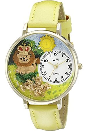 Whimsical Lion Yellow Leather and Goldtone Unisex Quartz Watch with Dial Analogue Display and Leather Strap G-1610006