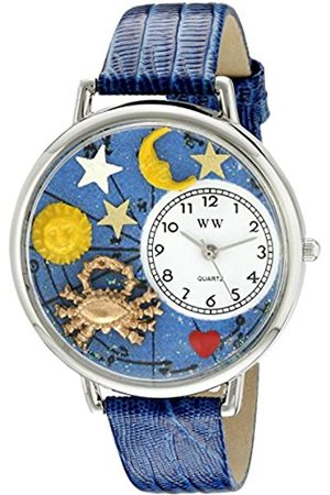 Whimsical Cancer Royal Blue Leather and Silvertone Unisex Quartz Watch with Dial Analogue Display and Leather Strap U-1810004