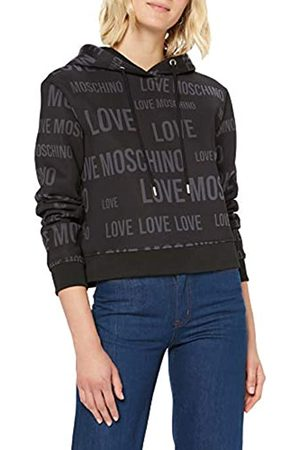 Love Moschino Women's Allover Print_Long Sleeve Hooded Sweatshirt, (Logo /Bl. 0011)