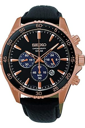 Seiko Mens Chronograph Solar Powered Watch with Leather Strap SSC448P1