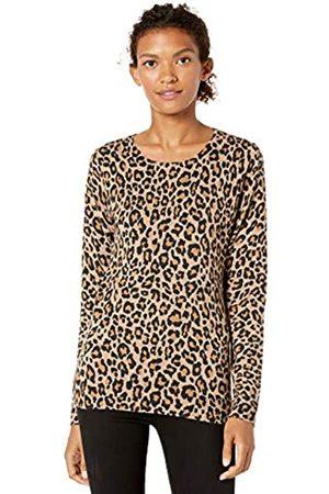 Amazon Lightweight Crewneck Sweater Camel Heather Animal Print