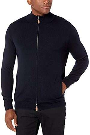 Buttoned Down Italian Merino Wool Full-zip Sweater Midnight Navy