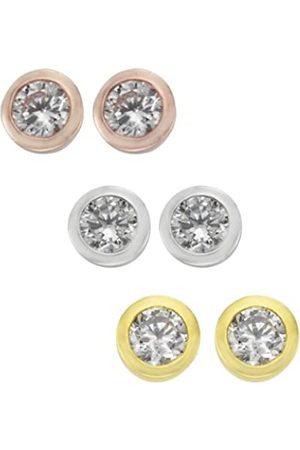 Zeeme Women's Stud Earrings 925 Sterling Silver Rhodium Plated Zirconia 500201424