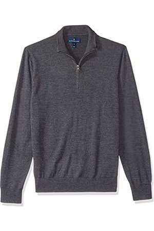 Buttoned Down Men's Italian Merino Wool Lightweight Quarter-Zip Jumper Dark X-Small