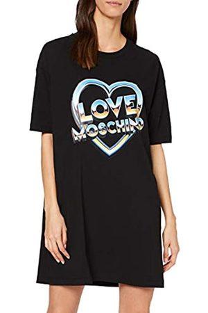 Love Moschino Women's Short Sleeve Stretch Jersey Dress_80s Logo & Heart Print