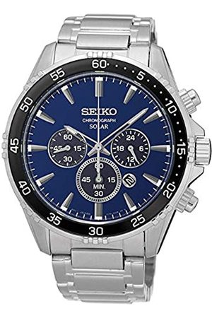 Seiko Mens Chronograph Solar Powered Watch with Stainless Steel Strap SSC445P1