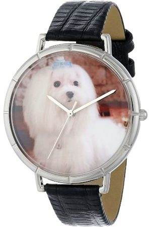 Whimsical Watches Maltese Black Leather and Silvertone Photo Unisex Quartz Watch with Dial Analogue Display and Leather Strap T-0130051