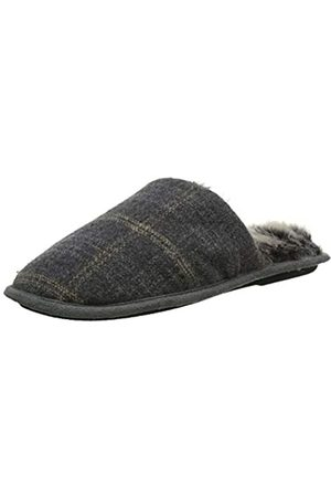 Totes Men's Fur Lined Check Moccasin Slippers, Small