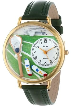 Whimsical Lacrosse Black Padded Leather and Goldtone Unisex Quartz Watch with Dial Analogue Display and Leather Strap G-0820014